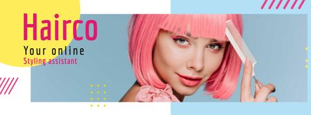Modèle de visuel Styling Assistant Offer with Pink-haired Woman - Facebook cover