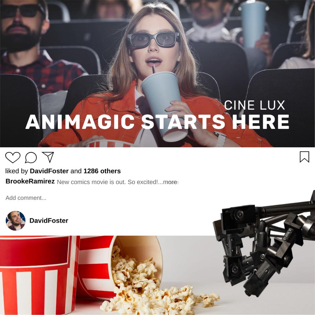 Woman watching film in 3D Cinema — Crea un design