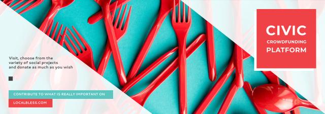 Crowdfunding Platform Red Plastic Tableware Tumblrデザインテンプレート