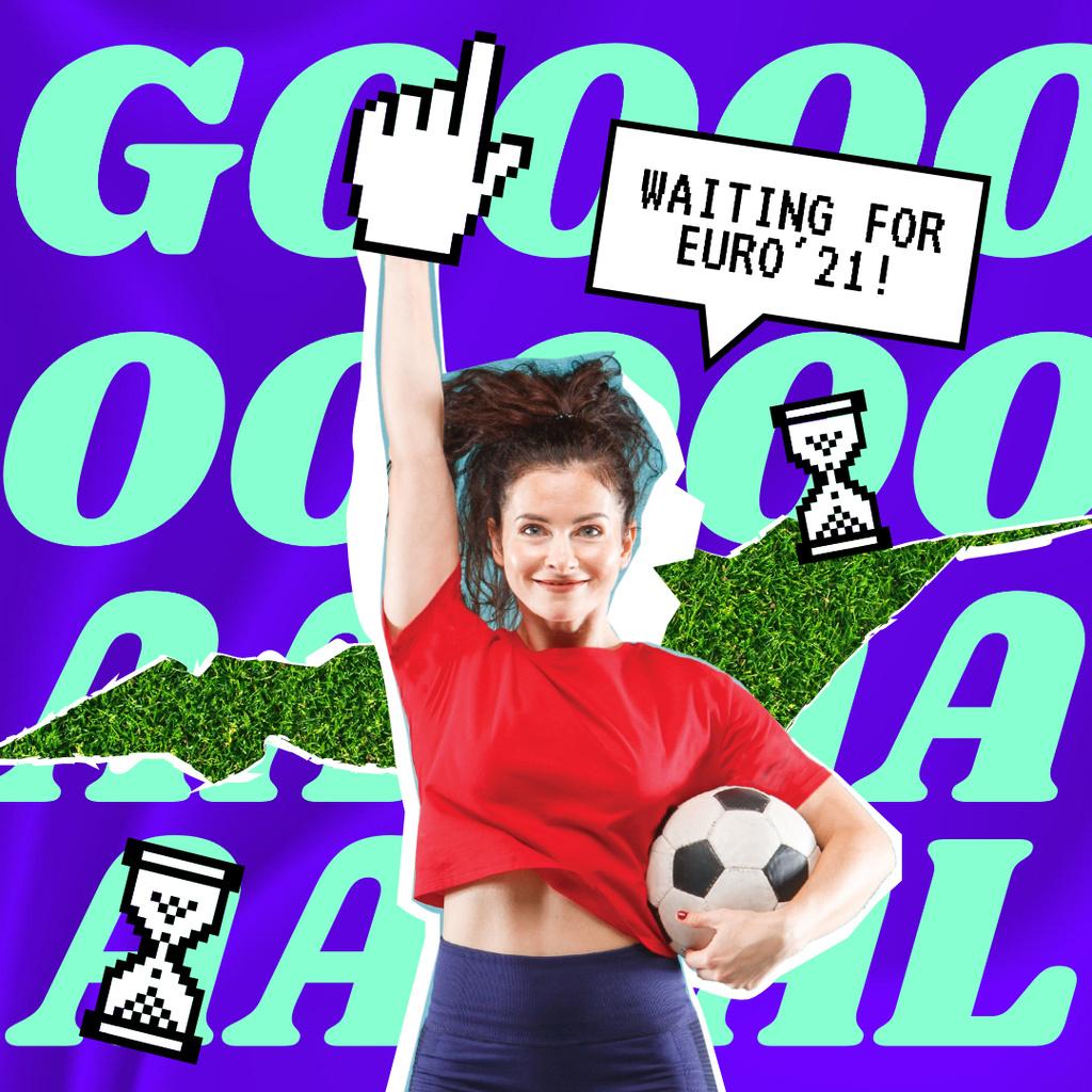 Cute Girl Cheerleader holding Soccer Ball Instagram Design Template