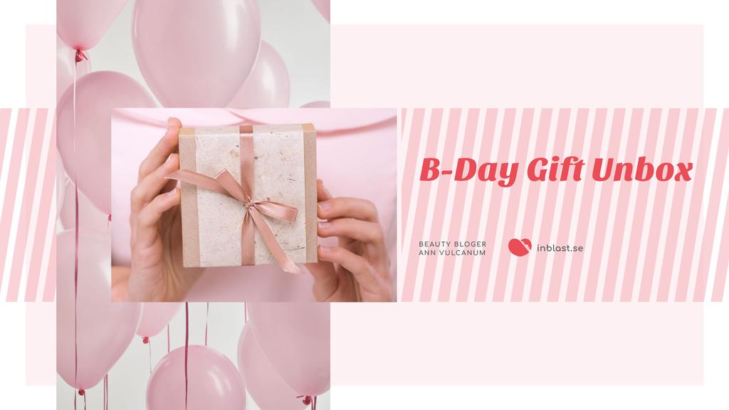 Birthday Greeting Gift and Pink Balloons Youtube Šablona návrhu