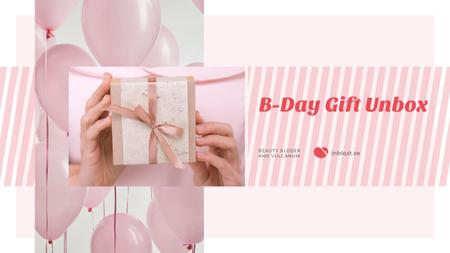 Birthday Greeting Gift and Pink Balloons Youtube Modelo de Design