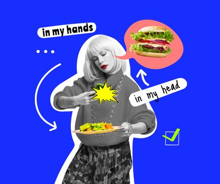 Designvorlage Woman dreaming of Delicious Burger für Facebook