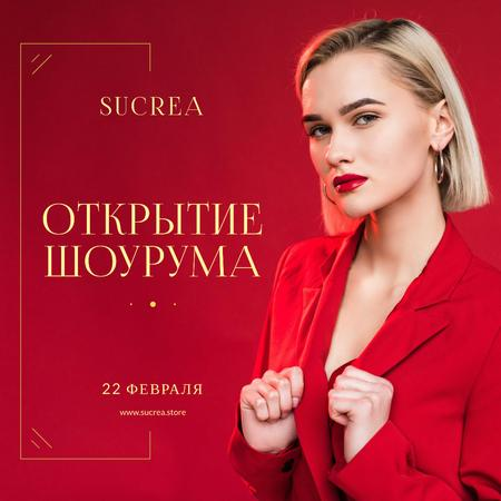 Stylish Women in Red Outfit Animated Post – шаблон для дизайна