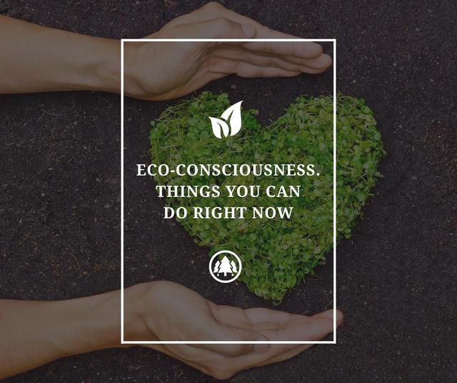 Plantilla de diseño de Eco Quote on Heart of Leaves Facebook