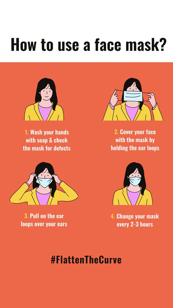 #FlattenTheCurve safety rules with Woman wearing Mask — Crear un diseño