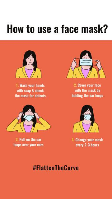 #FlattenTheCurve safety rules with Woman wearing Mask Instagram Story – шаблон для дизайна