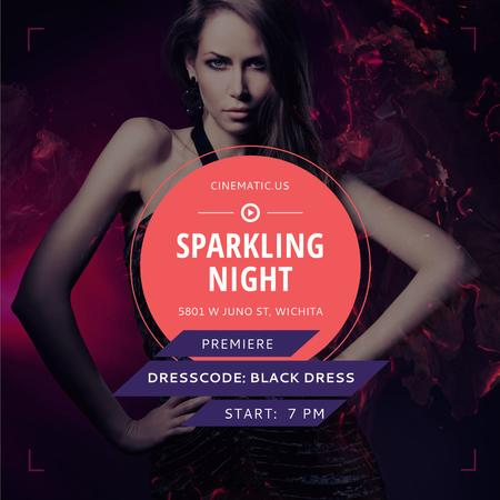 Sparkling night party with Attractive Woman Instagram Design Template