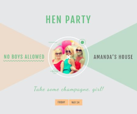 Hen party for girls in Amanda's House Large Rectangle – шаблон для дизайна