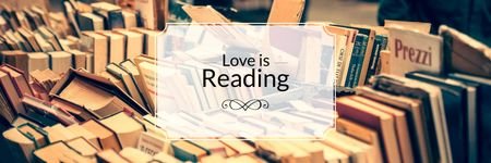 Plantilla de diseño de love is reading poster for bookstore Twitter