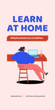 Ontwerpsjabloon van Graphic van #MyPandemicSurvivalPlan Man studying Globe on screen