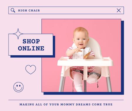Children's Online Shop Offer with Adorable Infant Facebook – шаблон для дизайна