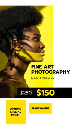 Photography Masterclass Promotion with Young Woman Instagram Story Design Template