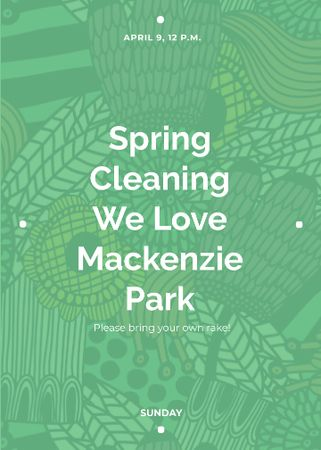 Ontwerpsjabloon van Flayer van Spring Cleaning Event Invitation Green Floral Texture