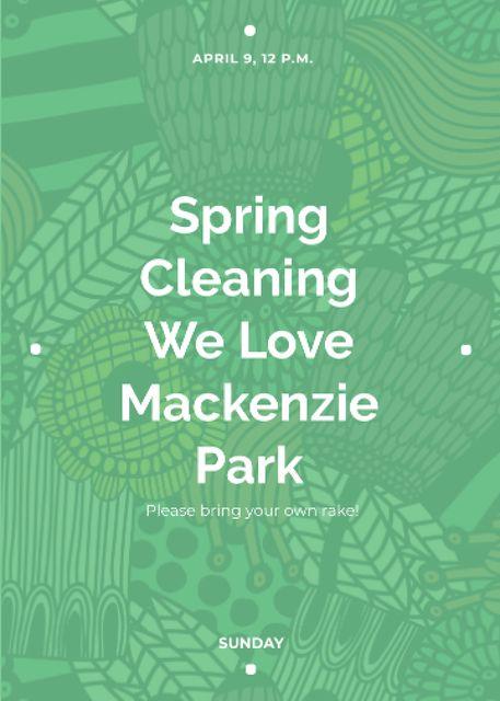 Plantilla de diseño de Spring Cleaning Event Invitation Green Floral Texture Flayer