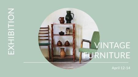 Vintage Furniture Shop Ad Antique Cupboard FB event cover – шаблон для дизайну