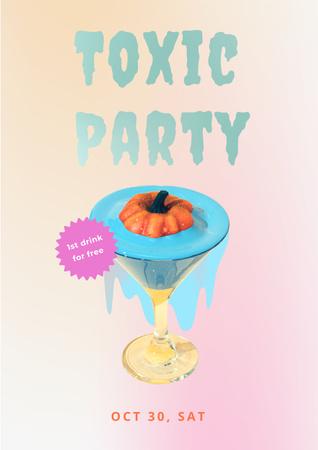 Halloween Party Announcement with Pumpkin in Cocktail Poster – шаблон для дизайну