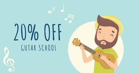 Ontwerpsjabloon van Facebook AD van Guitar School Offer with Man playing Ukulele