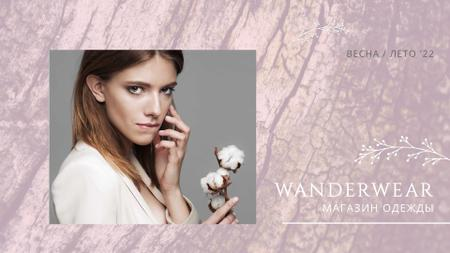 Modèle de visuel Fashion Ad Attractive Woman with Cotton Flower in Pink - Full HD video