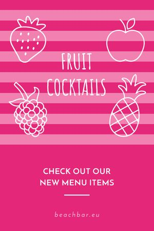 Plantilla de diseño de Fruit Cocktails Offer in Pink Tumblr