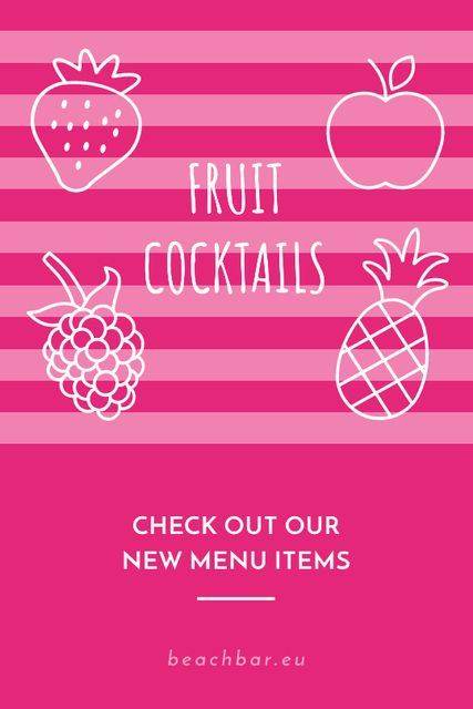 Template di design Fruit Cocktails Offer in Pink Tumblr