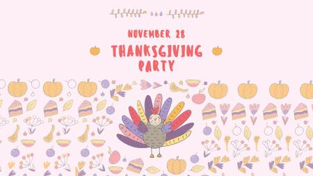 Ontwerpsjabloon van FB event cover van Thanksgiving Party Announcement with Funny Turkey