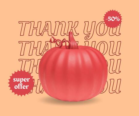 Thanksgiving Holiday Discount Offer with Pumpkin Facebook Modelo de Design
