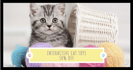 Pets Toys Offer with Cute Kitty Facebook ADデザインテンプレート
