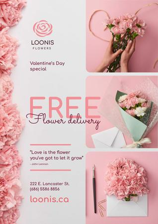 Valentines Day Flowers Delivery Offer  Poster Modelo de Design