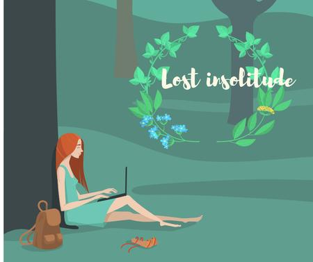 Plantilla de diseño de Solitude Inspiration with Girl Working on Laptop in Park Facebook