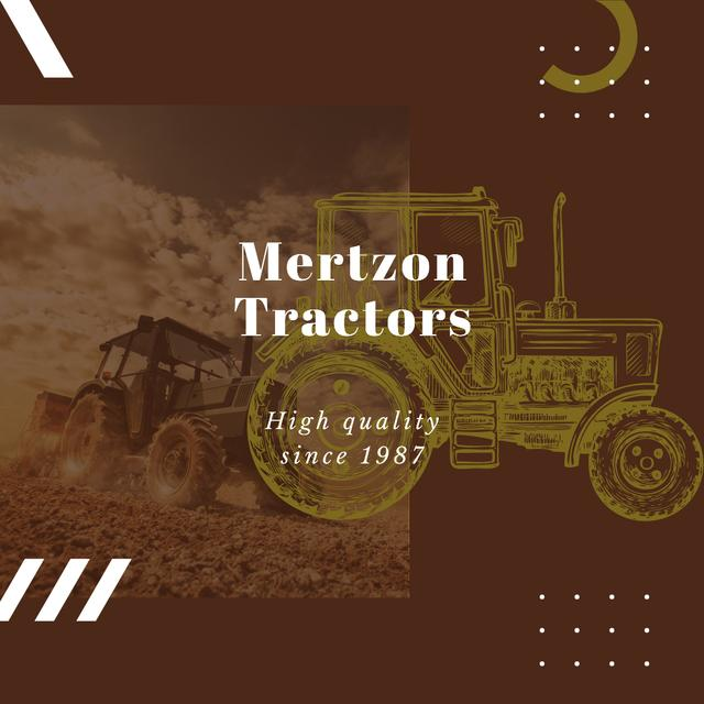 Template di design Farming Machinery Tractor Working in Field Instagram AD
