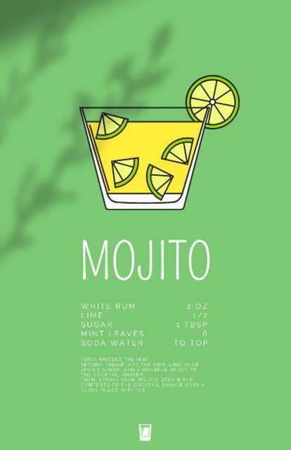 Fresh Mojito in Glass with Lime Recipe Card Design Template