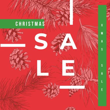 Plantilla de diseño de Christmas Sale Announcement Cons Pattern in Red Instagram AD