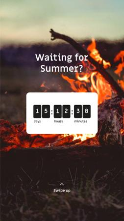 Countdown to Summer on burning Fire Instagram Story – шаблон для дизайну