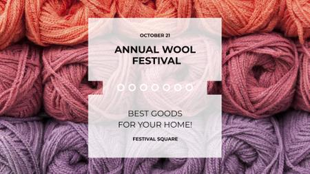 Ontwerpsjabloon van FB event cover van Wool Festival with Yarn Skeins