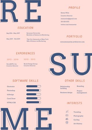 Creative Director skills and experience Resume Modelo de Design