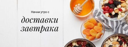 Breakfast Offer Honey and Dried Fruits Granola Facebook cover – шаблон для дизайна