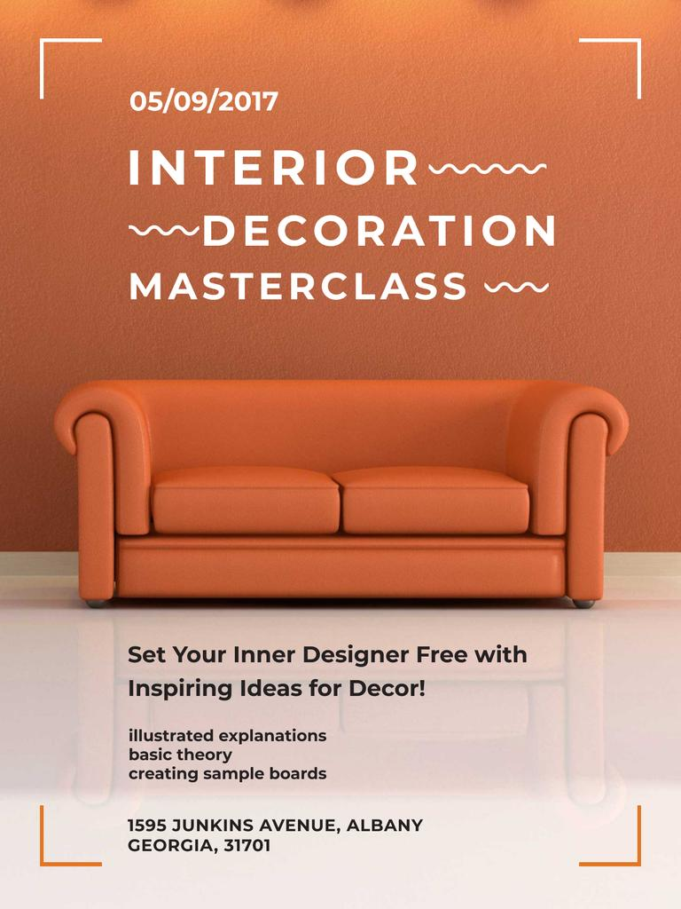Interior decoration masterclass with Sofa in red Poster US – шаблон для дизайна