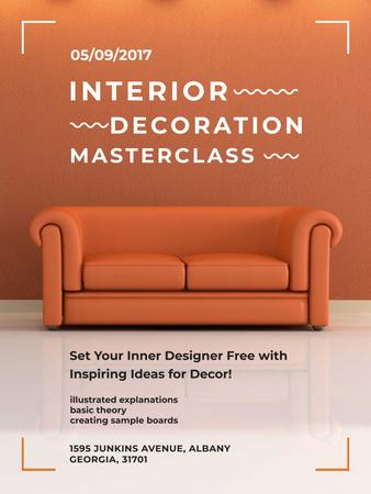 Plantilla de diseño de Interior decoration masterclass with Sofa in red Poster US