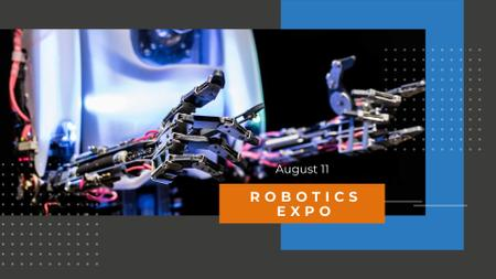 Plantilla de diseño de Robotics Expo Announcement with Modern Robot FB event cover