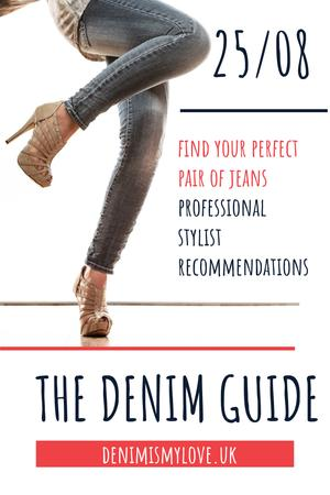 Template di design Woman in Stylish Denim Pinterest
