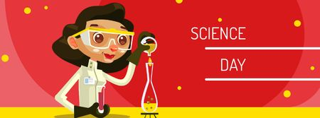 Science Day Announcement with Female Scientist Facebook cover Modelo de Design