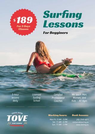 Plantilla de diseño de Surfing Guide with Woman on Board in Blue Poster