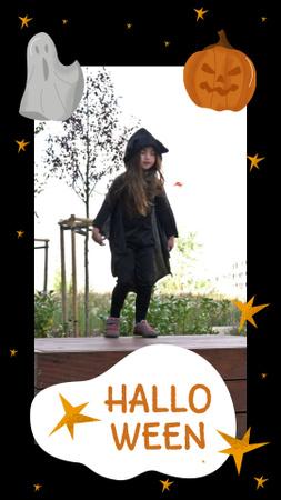 Szablon projektu Halloween Inspiration with Cute Girl in Costume Instagram Video Story
