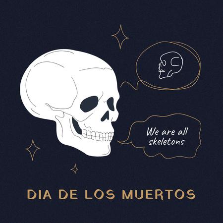 Dia de los Muertos Holiday with Skull Illustration Instagram – шаблон для дизайну