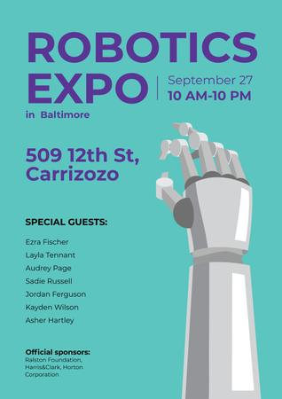Plantilla de diseño de Robotics Expo Annoucement with Robot Hand in Blue Poster