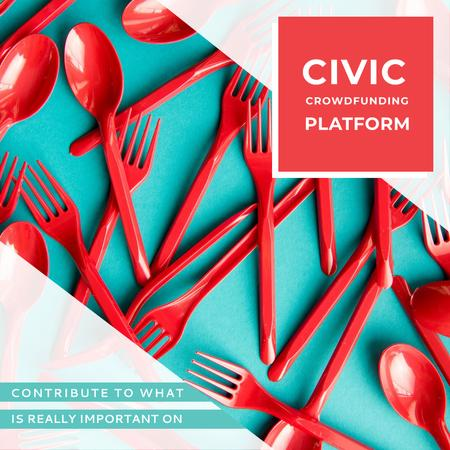 Crowdfunding Platform Red Plastic Tableware Instagram AD – шаблон для дизайна