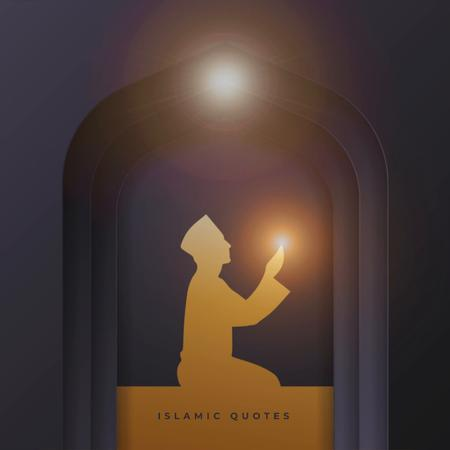Modèle de visuel Islamic Quotes with Praying Man - Animated Post