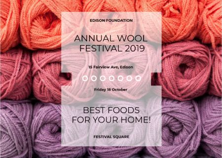 Knitting Festival Wool Yarn Skeins Postcardデザインテンプレート
