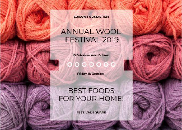 Knitting Festival Wool Yarn Skeins Postcard – шаблон для дизайну